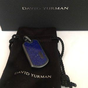 David Yurman Exotic Stone Lapis Dog Tag